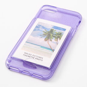 Lavender Glitter Instax Mini Pocket Protective Phone Case - Fits iPhone 6/7/8/SE,