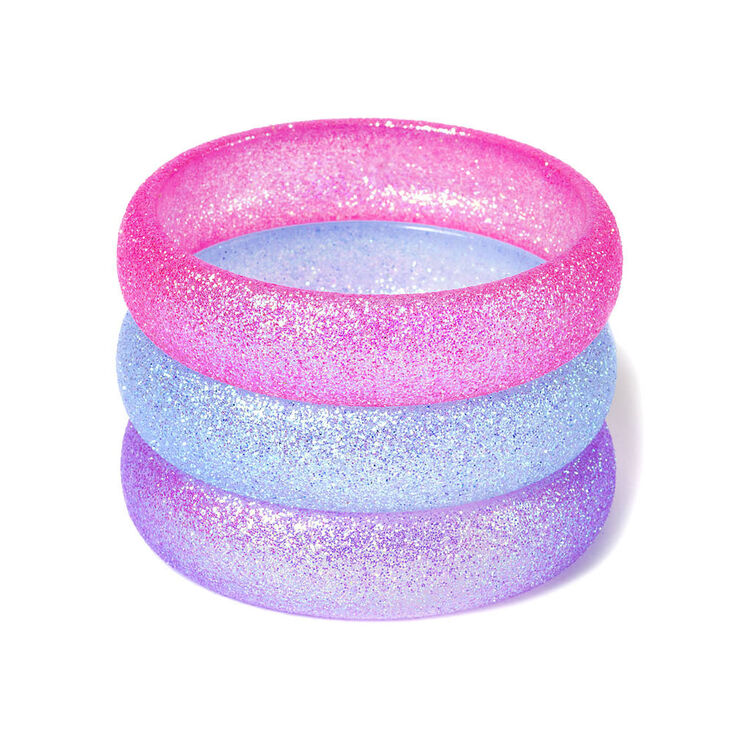 Claire's Club Glitter Bangle Bracelets - 3 Pack,
