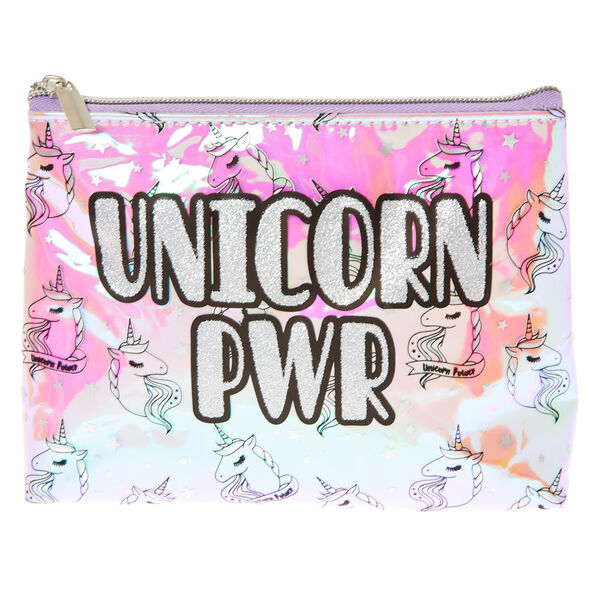 Claire's - unicorn pwr holographic cosmetics bag - 1