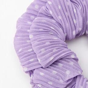 Medium Pleated Polka Dot Hair Scrunchie - Lilac,