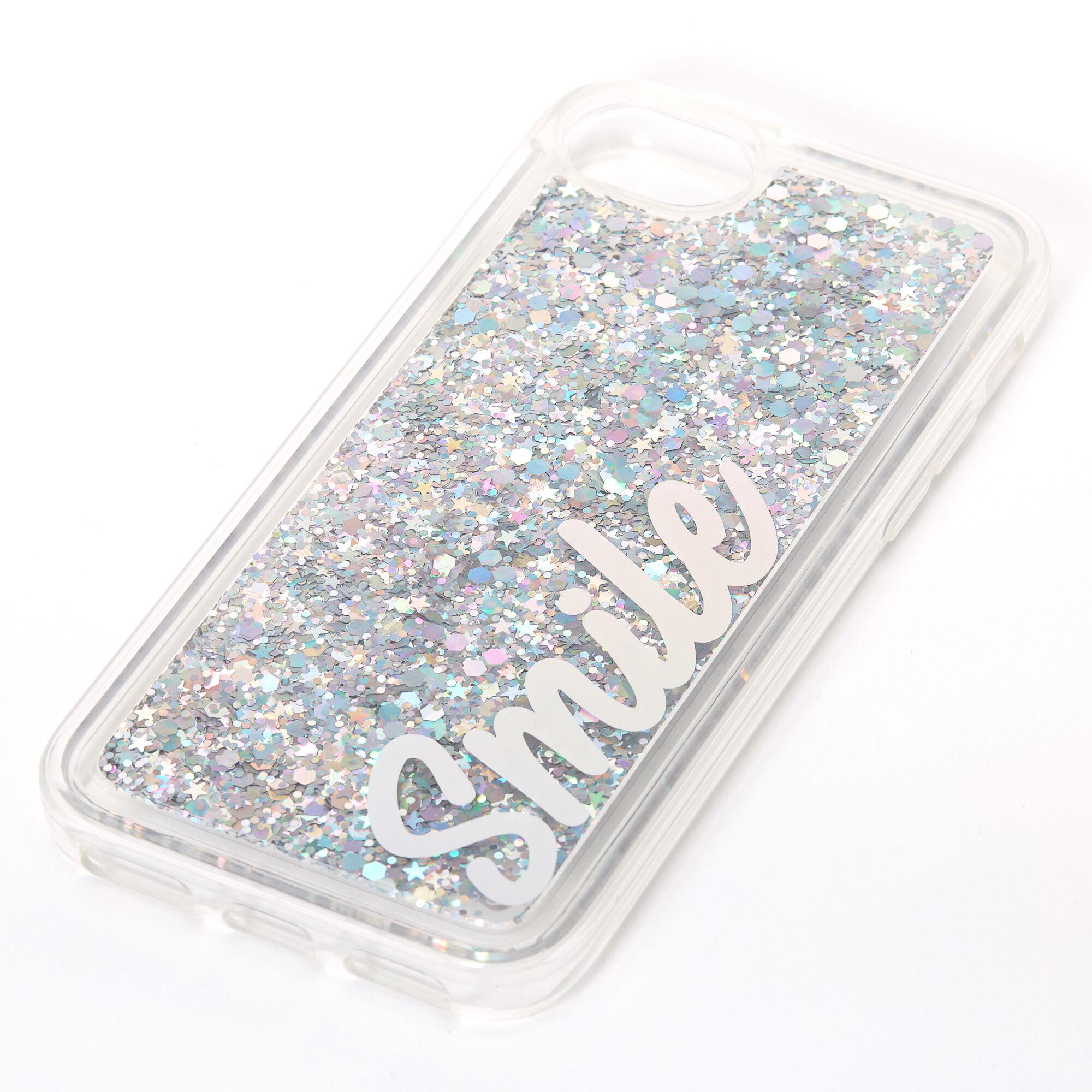 Coque de portable « Smile » remplie de liquide à paillettes argentées - Compatible avec iPhone 6/7/8/SE