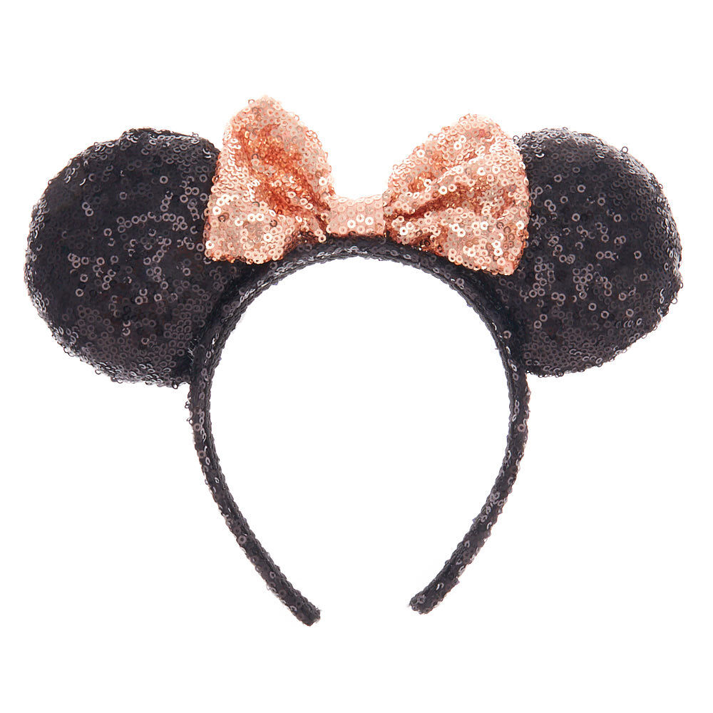 NEW Black Flip Sequin Minnie Mouse Ears Rose Gold Bow Headband