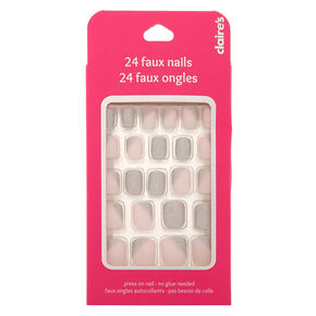 Asymmetrical Glitter Press On Faux Nail Set - Pink, 24 Pack,