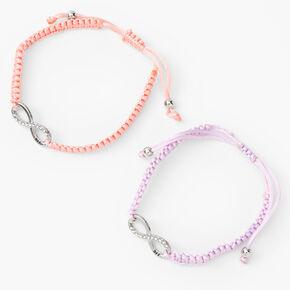 Pastel Infinity Adjustable Friendship Bracelets - 2 Pack,
