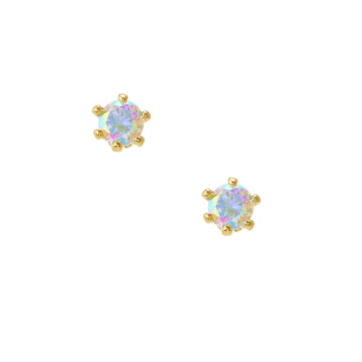 18kt Gold Plated Aurora Borealis Round Stud Earrings - 3MM,