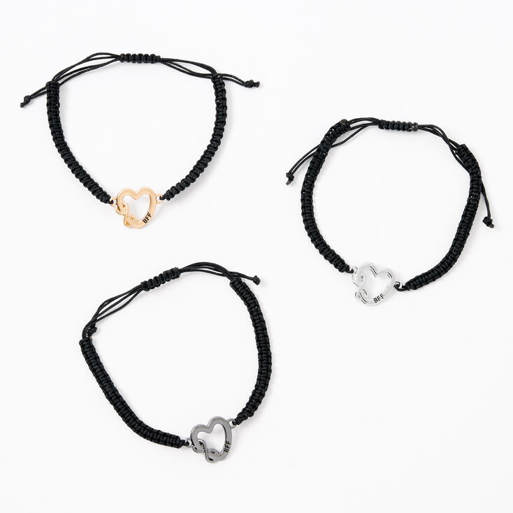 Bracelets d'amitié réglables cœur infini en métaux mixtes - Lot de 3,