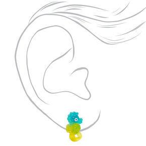 Blue & Green Seahorse Clip On Stud Earrin,