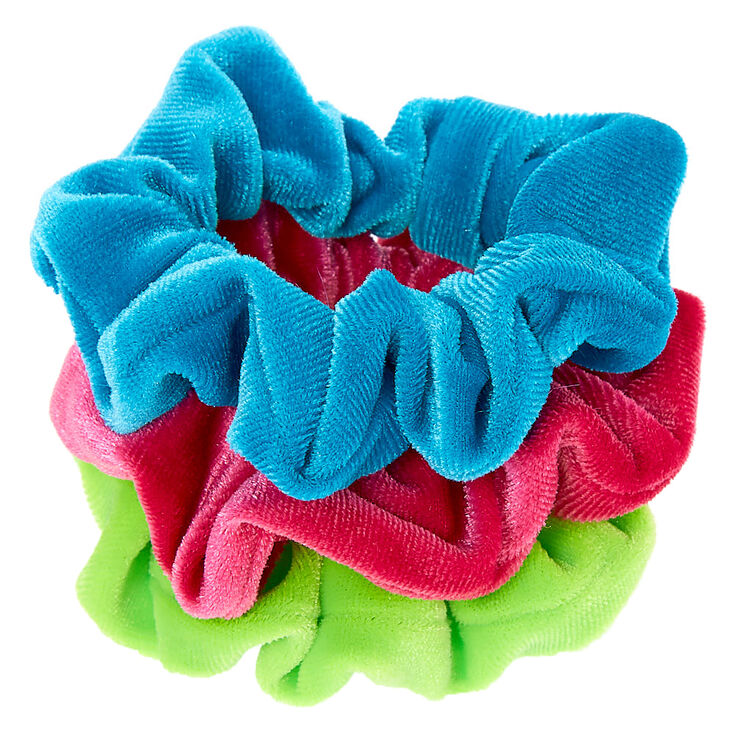 Claire's Club Small Cool Velvet Hair Scrunchies - 3 Pack,