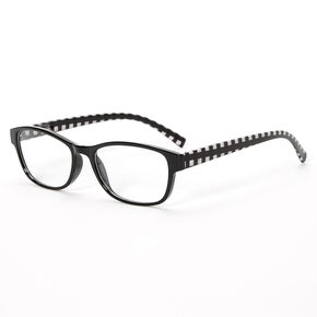 Gingham Rectangle Clear Lens Frames - Black,