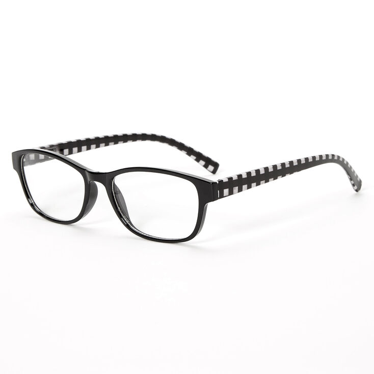 Gingham Rectangle Clear Lens Frames - Black,