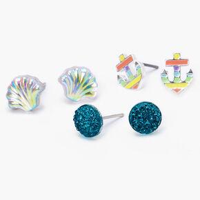 Shell Stud Earrings - 3 Pack,