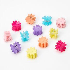 Neon Rainbow Daisy Mini Hair Claws - 12 Pack,