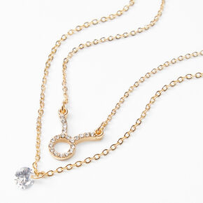 Gold Cubic Zirconia Zodiac Multi Strand Necklace - Taurus,