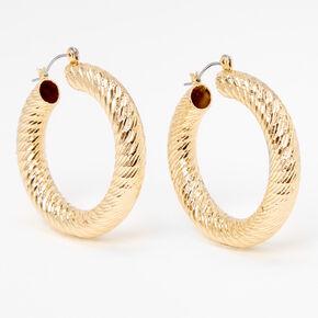 Gold 30MM Laser Cut Textured Tube Hoop Earrings,