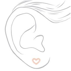 Rose Gold Pearl Heart Stud Earrings,