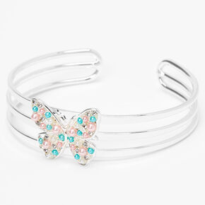 Claire's Club Pearl Butterfly Cuff Bracelet,