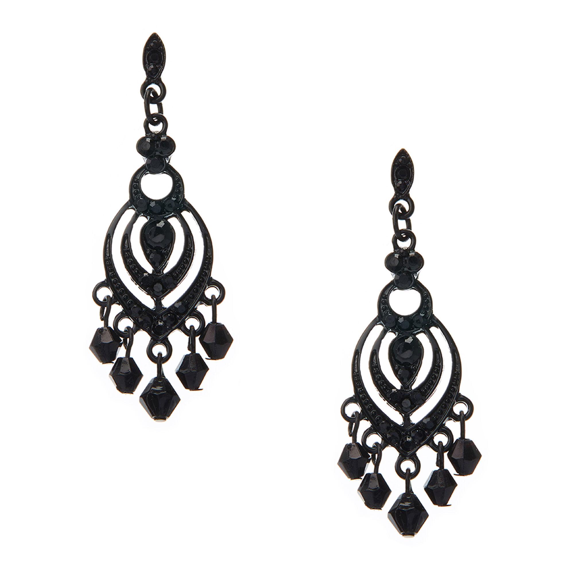 Small Black Chandelier Drop Earrings