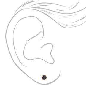 18kt Gold Plated Cubic Zirconia 5MM Round Stud Earrings - Black,