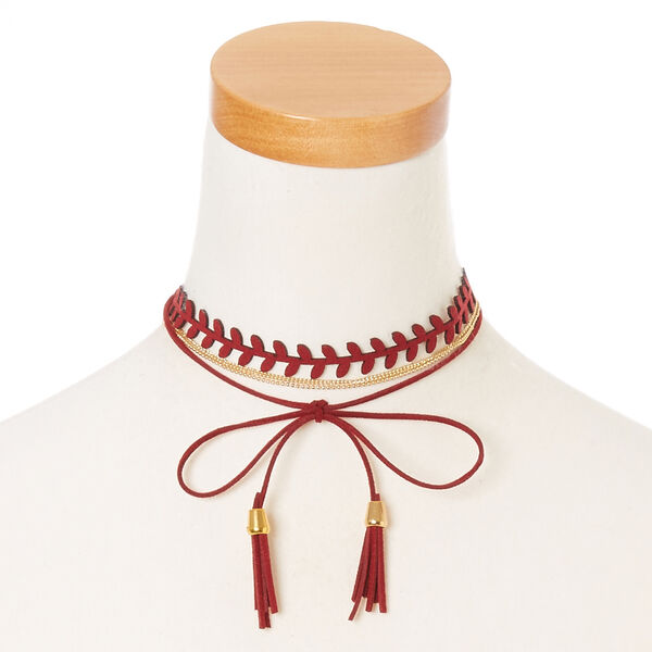 Claire's - burgundy tassel and chain dual wear headwrap - 1