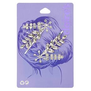 Glass Rhinestone Leaf Bobby Pins - 2 Pack,