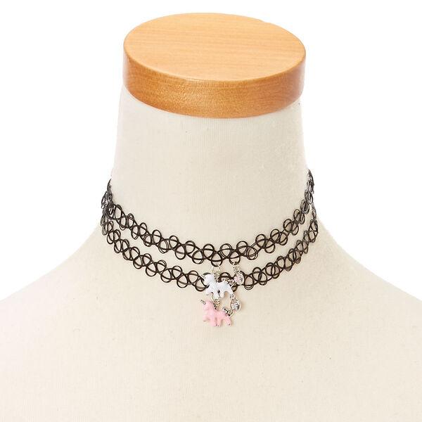 Claire's - best friends unicorn pendant tattoo choker necklaces - 1