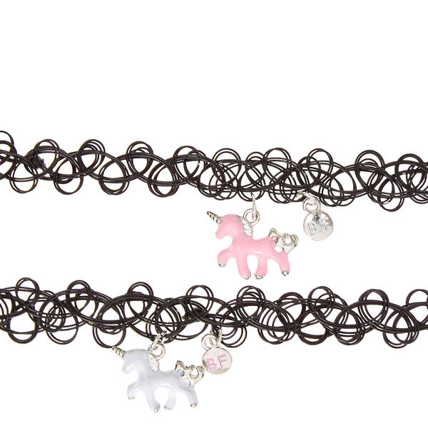 Claire's - best friends unicorn pendant tattoo choker necklaces - 2
