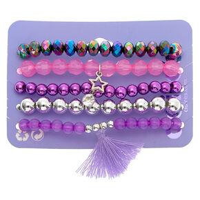 Charmy Beaded Stretch Bracelets - Purple, 5 Pack,
