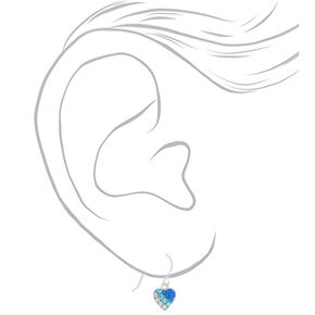 Sterling Silver Blue Ombre Heart Drop Earrings,
