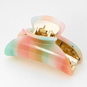 Medium Pastel Rainbow Watercolor Hair Claw,