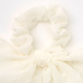 Small Organza Bow Hair Scrunchie Scarf - White,