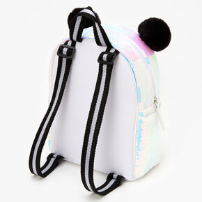 Sequin Panda Mini Backpack - White,