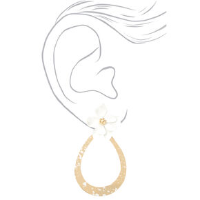 "Gold 2"" Teardrop Flower Drop Earrings - White,"