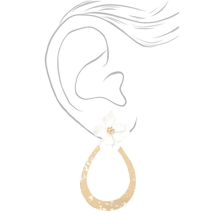 """Gold 2"""" Teardrop Flower Drop Earrings - White,"""