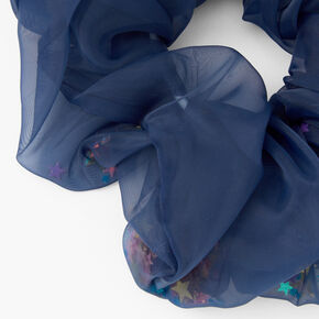 Gros chouchou à sequins en tulle transparent - Bleu marine,
