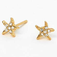 18kt Gold Plated Embellished Starfish Stud Earrings