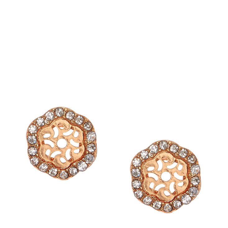 18kt Rose Gold Plated  Crystal Hexagon Stud Earrings,