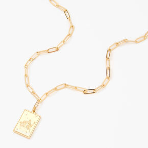Gold Rectangle Zodiac Symbol Pendant Necklace - Aquarius,
