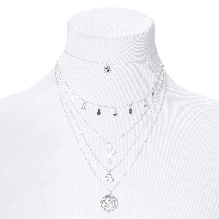 Silver Filigree Multi Strand Choker Necklace,