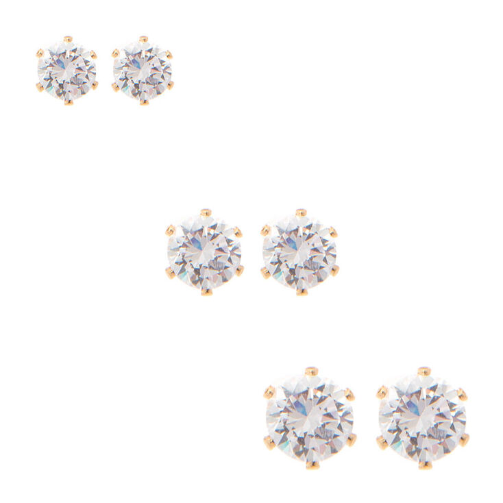 Gold Graduated Round Cubic Zirconia Stud Earrings 3 Pack