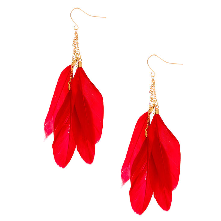 """Gold 3.5"""" Feather Drop Earrings - Red,"""