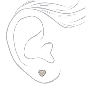 Silver Titanium Crystal Heart Stud Earrings - White,