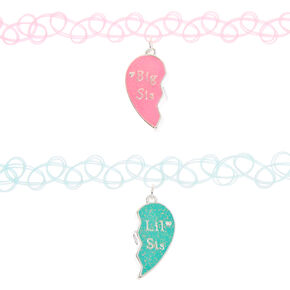 Big Sis & Lil Sis Pastel Tattoo Choker Necklaces - 2 Pack,