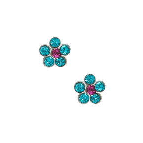 Sterling Silver Flower Stone Stud Earrings - Turquoise,