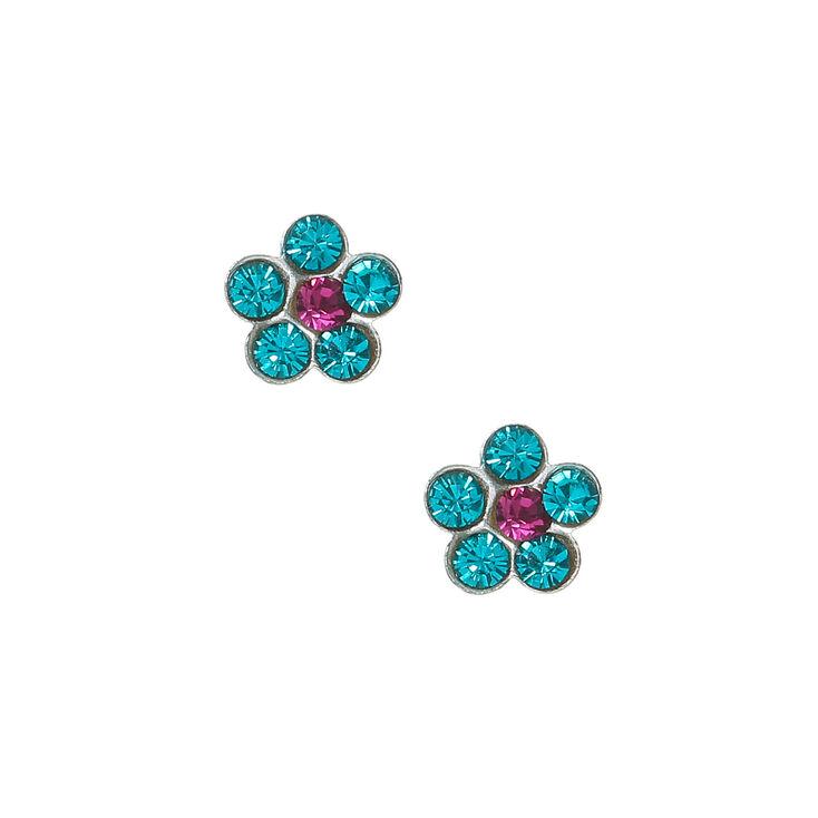 Sterling Silver Flower Stone Stud Earrings - Turquoise,