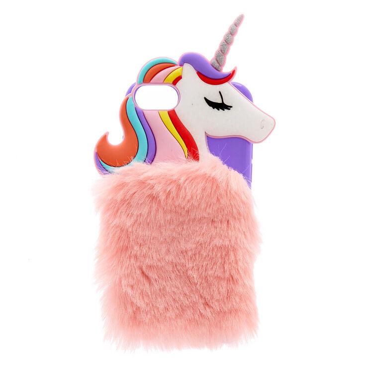 best loved edd49 7fbd3 Rainbow Unicorn Faux Fur Phone Case