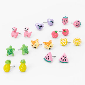Glitter Critters and Fruits Stud Earrings - 9 Pack,