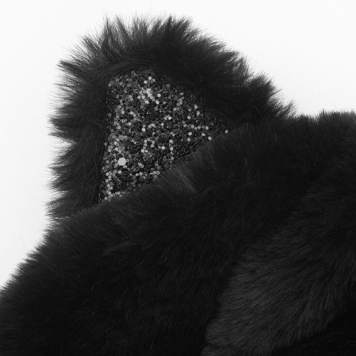 Faux Fur Hooded Cat Scarf - Black,