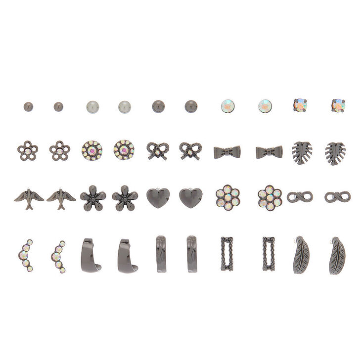 Hematite Stud Earrings - 20 Pack,