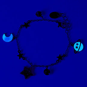 Silver Celestial Icons Glow in the Dark Charm Bracelet,