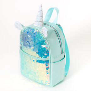 Holographic Sequin Unicorn Small Backpack - Mint,